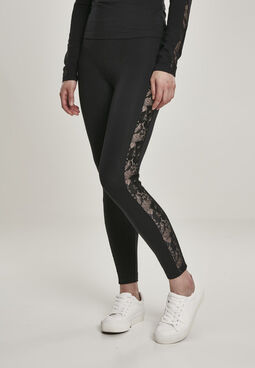 Urban classics Ladies Lace Striped Leggings black