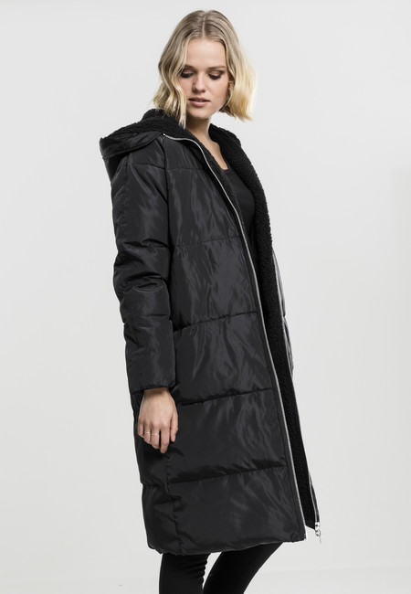 Urban classics Ladies Oversized Hooded Puffer Coat black black ... b6b86867dd8