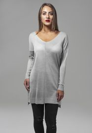 Urban classics Ladies Fine Knit Oversize V-Neck Sweater grey