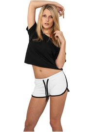 Urban classics Ladies French Terry Hotpants wht/blk