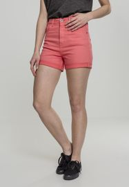 Urban classics Ladies Highwaist Stretch Twill Shorts coral