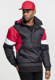 Urban Classics 3-Tone Pull Over Jacket black/fire red/white