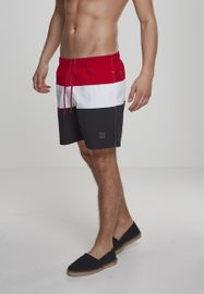 Urban Classics Color Block Swimshorts blk/firered/wht