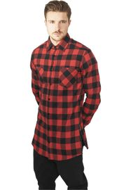 Urban Classics Side-Zip Long Checked Flanell Shirt blk/red