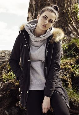 Dámska parka // Urban classics Ladies Sherpa Lined Peached Parka black