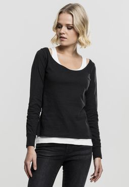 Dámsky pulóver // Urban classics Ladies Two-Colored Longsleeve black/white